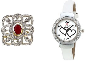 Evelyn Combo Of White Leather Analog Watch And Ring - R