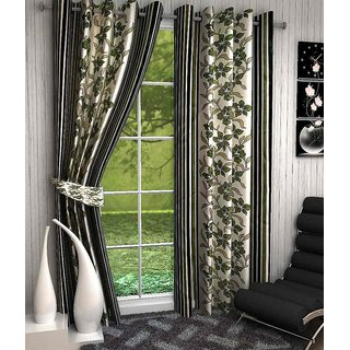 Black,White Poly Cotton Door Eyelet Stitch Curtain Feet (Combo Of 2)