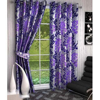 Purple,White Polyester Door Stitch Curtain Feet (Combo Of 2)