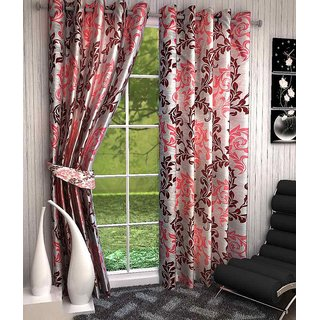 K Decor Red,White Polyester Door Eyelet Stitch Curtain Feet (Combo Of 2)