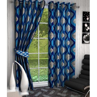 K Decor Blue Polyester Door Stitch Curtain Feet (Combo Of 2)