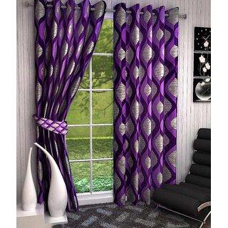 K Decor Purple,Beige Polyester Door Stitch Curtain Feet (Combo Of 2)