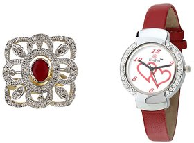 Evelyn Combo Of Red Leather Analog Watch And Ring - RGE