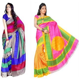Muta Fashions Latest Bhagalpuri Saree (Pack Of 2)