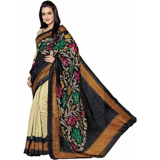 Sukuma Beige & Black Linen Printed Saree With Blouse