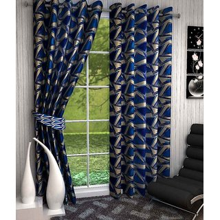 K Decor Polyester Multicolor Geometric Door Curtain(Set Of 2)