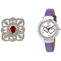 Evelyn Combo Of Purple Leather Analog Watch And Ring - RGEVE-308