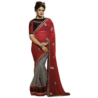 SuratTex Black Georgette Embroidered Saree With Blouse