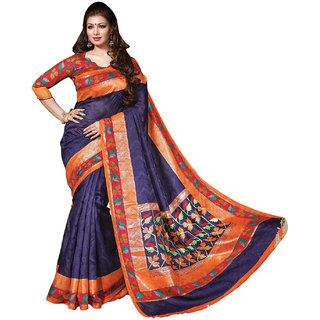 SuratTex Blue Silk Printed Saree With Blouse