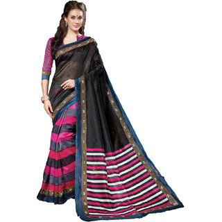 SuratTex Black Silk Printed Saree With Blouse