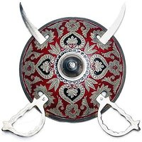 JaipurCrafts Royal Rajasthan Real Brass Armour Sword Showpiece  -  15.24 Cm (Brass, Multicolor)