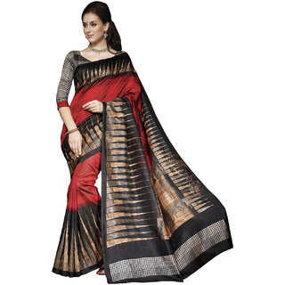 SuratTex Red Silk Printed Saree With Blouse