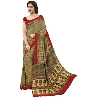 SuratTex Yellow Crepe Printed Saree With Blouse