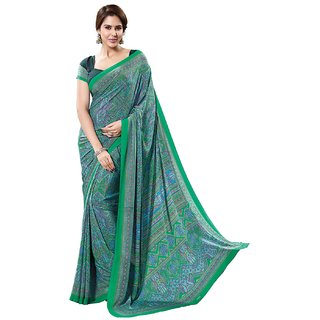 SuratTex Green Crepe Printed Saree With Blouse