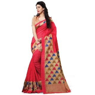 SuratTex Pink Silk Printed Saree With Blouse