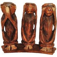 JaipurCrafts Three Monkey Of Mahatma Gandhi Showpiece  -  10.16 Cm (Wooden, Brown, Gold)