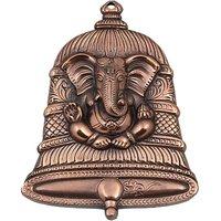 JaipurCrafts Matel Wall Hanging Of Lord Ganesha Inside Bell Showpiece  -  22.86 Cm (Aluminium, Brown)