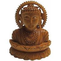 JaipurCrafts Lord Buddha Head In Meditation Showpiece  -  10.16 Cm (Wooden, Brown)