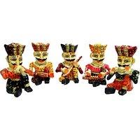 JaipurCrafts Rajasthani Musician Set Of 5 Showpiece  -  10.16 Cm (Wooden, Multicolor)