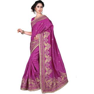 SuratTex Pink Bhagalpuri Silk Embroidered Saree With Blouse