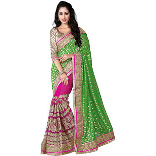 SuratTex Green Viscose Jacquard Embroidered Saree With Blouse