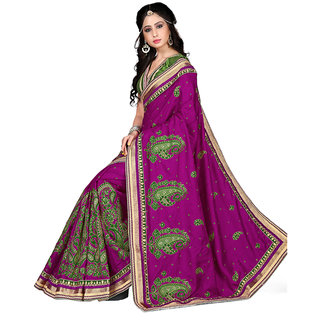 SuratTex Purple Silk Embroidered Saree With Blouse