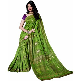SuratTex Green Silk Printed Saree With Blouse