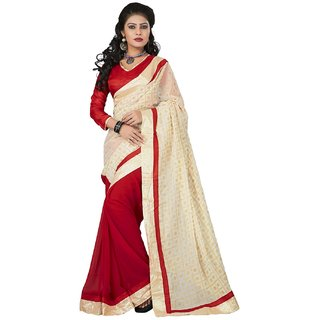 SuratTex Beige Georgette Printed Saree With Blouse