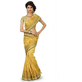 SuratTex Yellow Silk Embroidered Saree With Blouse