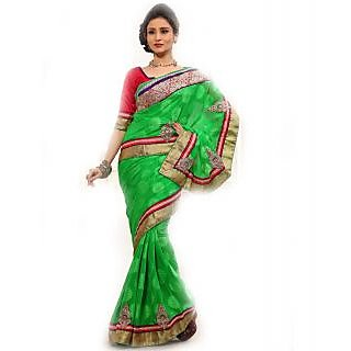 SuratTex Green Jacquard Embroidered Saree With Blouse