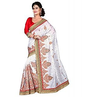 SuratTex White Silk Embroidered Saree With Blouse
