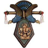 JaipurCrafts Atique Wall Hanging Lord Ganesha Showpiece  -  43.18 Cm (Plastic, Multicolor)