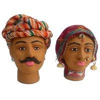 JaipurCrafts Rajasthani Kaka Kaki Showpiece  -  10.16 Cm (Terracotta, Multicolor)