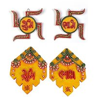 JaipurCrafts Combo Of Decorative Swastika And Leaf Shubh Labh Wall Hangings Showpiece  -  15.24 Cm (Wooden, Paper Mache, Multicolor)