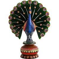 JaipurCrafts Painted Dancing Peacock 5 In Showpiece  -  12.7 Cm (Wooden, Multicolor)