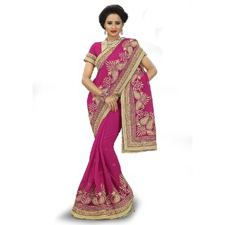 SuratTex Pink Georgette Embroidered Saree With Blouse