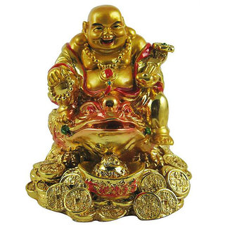 Divya Golden Laughing Buddha On Feng Shui Money Frog
