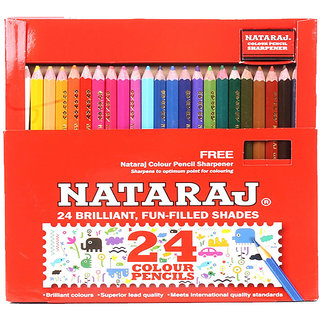 Natraj 24 Colour Pencils - Half Size - 2 Pcs