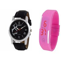 Oura Analog Black Dial Watch For Men With Pink Led Watch-WBB-09-119