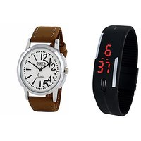 Oura Analog White Dial Watch For Men With Black Led Watch-WWB-01-118