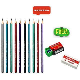 Natraj Metallic Spiral Pencils - 10 Pcs
