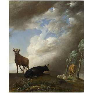 Vitalwalls Cattle And Sheep In A Storm Canvas Art Print (Classical-017-30Cm)