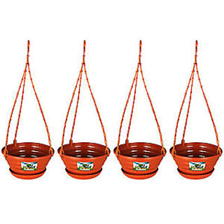Hanging  4 Pots/Planters Terracotta Color for Home Balcony