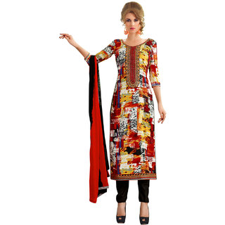 Lookslady Red Cotton Embroidered Salwar Suit Dress Material (Unstitched)