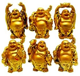 Set of 6 Metal Laughing Budha in 6 Different Positions