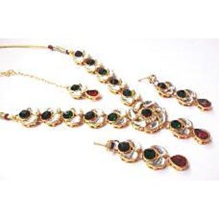 Maroon and Green Stone lotus Kundan Necklace set