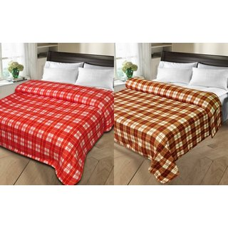 Shopgalore Combo of Single Bed Checks AC Blanket(CCSB-06)