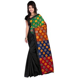Sukuma Black & Orange Dupion Silk Graphic Print Saree With Blouse