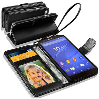 N+ INDIA   Sony Xperia Z5 PREMIUM  Leather Wallet Book Flip Case Cover  Black