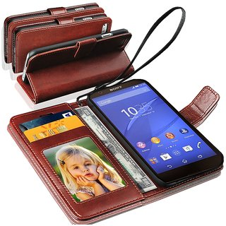 N+ INDIA  Sony Xperia Z5 Compact   Leather Wallet Book Flip Case Cover  Brown